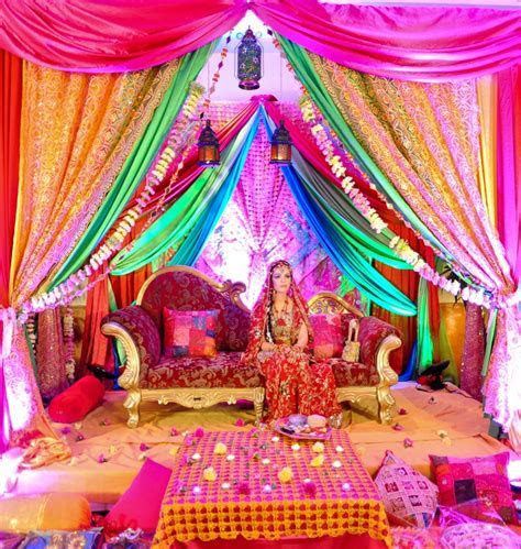 Rainbow setting for a mendhi or sangeet. Indian wedding