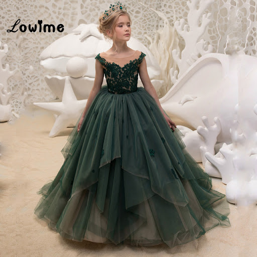 4eb7206897 Dark Green Appliqued Flower Girl Dresses Ball Gown Pageant Dresses For  Girls 2018 first Communion Dresses Vestido Daminha