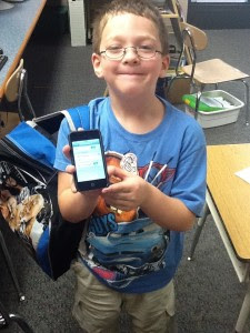 1st grader with iPod