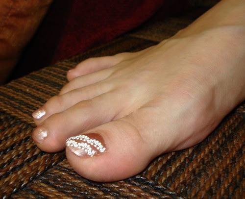Wedding bridal nail art pedicure for toes.