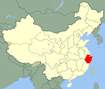 An SVG map of China with Zhejiang province hig...