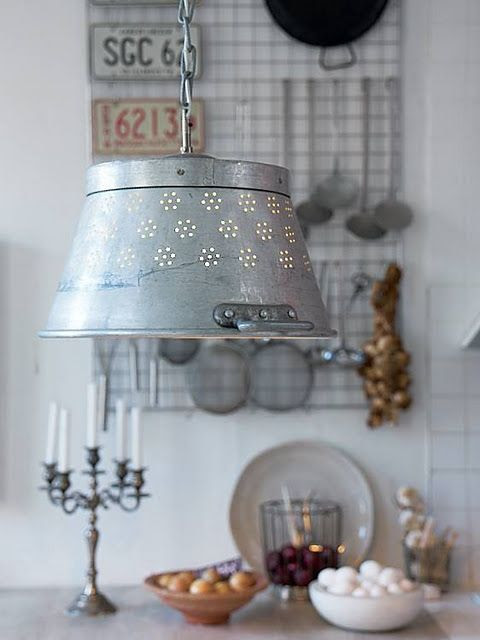 Colander as a light fixture - Love this vintage shabby farmhouse/cottage style!