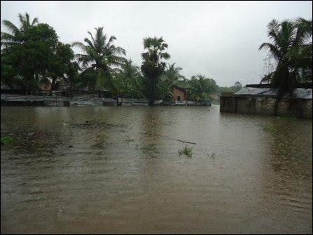 Roads affected by floods in Batticaloa