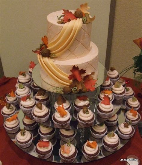 This is a fall themed cupcake wedding tower. There are 80