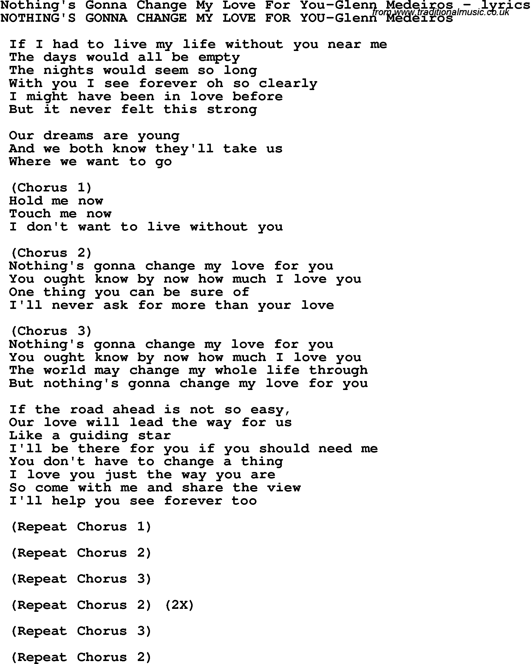 free download nothing gonna change my love for you lyrics