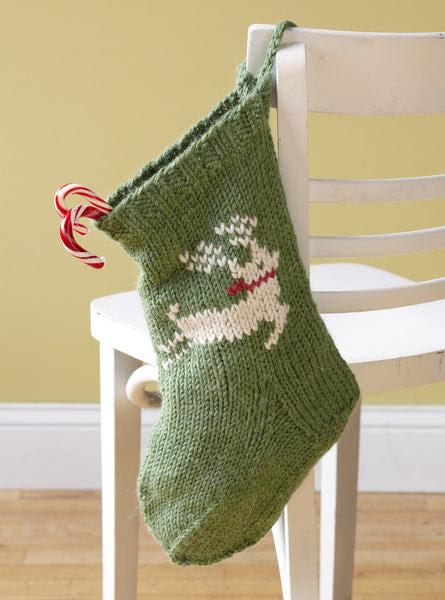 Festive Reindeer Stocking Free Knitting Pattern