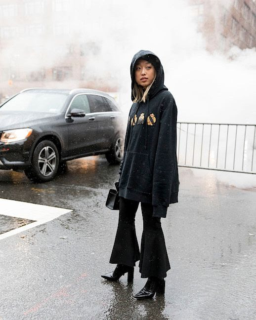 Le Fashion Blog Shine By Three Oversized Hoodie Super Flare Leg Pants Heeled Boots NYFW Via Vogue Brazil