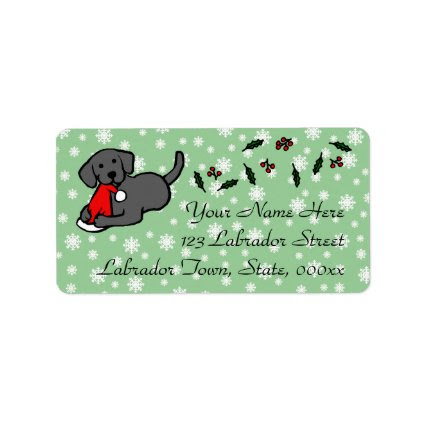 Black Labrador Christmas Cartoon Personalized Address Label