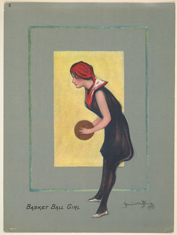 colour sketch of woman in 1920s garb holding a basketball as if to shoot