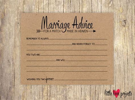 Wedding Advice Cards, Advice For The Bride And Groom