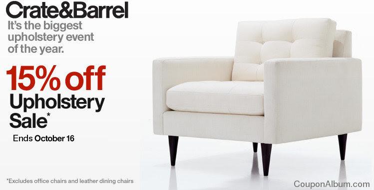 Crate & Barrel Upholstery Sale: 15% off Furniture!   Online