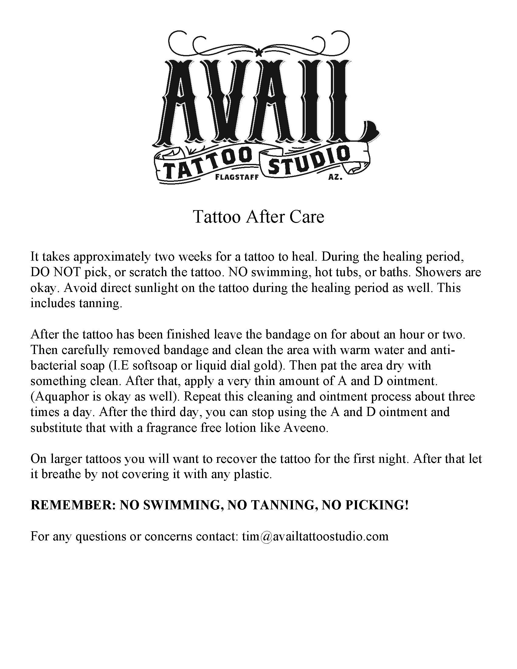 Tattoo aftercare instructions Images - HD Tattoo Design Ideas