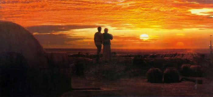 Owen and Beru, with Baby Luke in hand, gaze off into the twin Tatooine sunset.