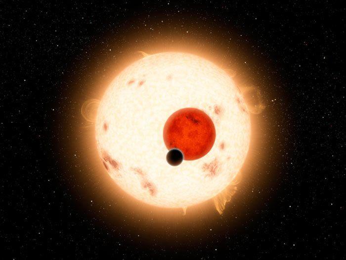 An artist's concept of Kepler-16b orbiting its two parent stars.