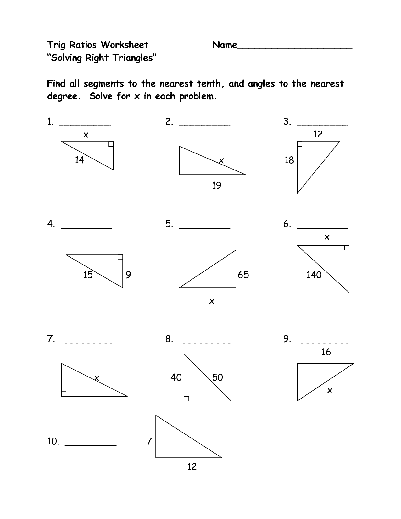 right triangle trig ratios worksheet_210476