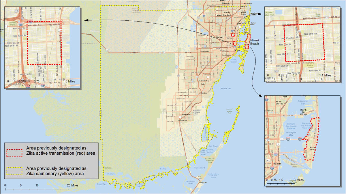 Area in Miami, FL where Zika virus is being spread by mosquitoes