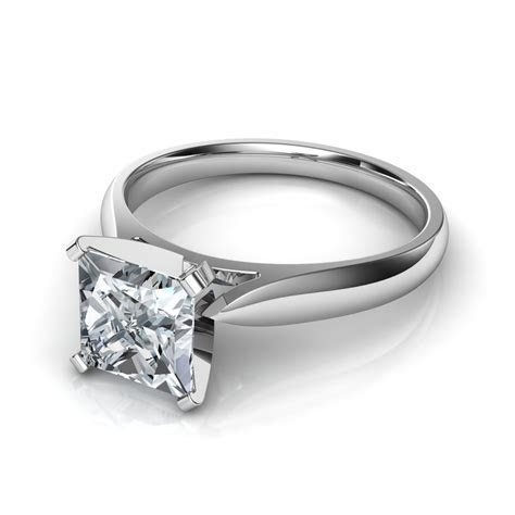 Tapered Cathedral Princess Cut Solitaire Engagement Ring