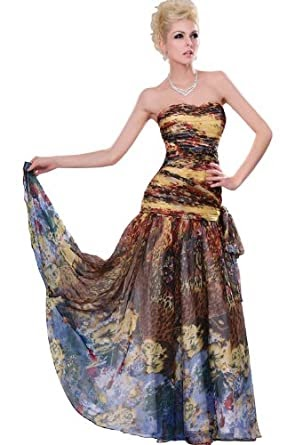 abendkleider lang am besten edressit 2011 geblumte traegerlos lange abendkleid/partykleid