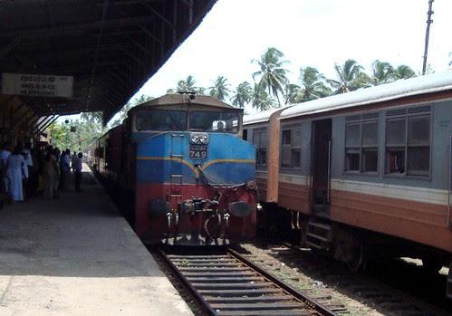 "Class M4 heading ""Rajarata Rajini"" coming to a stop at Aluthgama"