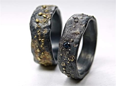 Matching his and hers Black Sterling Silver and 14K Gold