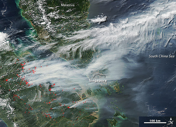 Smoke from fires over Indonesia, and Borneo, Satellite, NASA, 1997