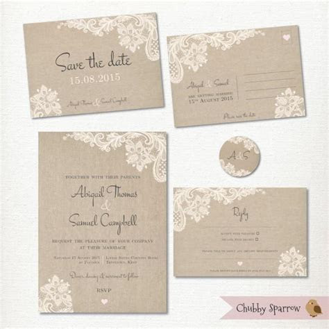 Wedding Invitation, Save The Date Postcard, Lace And Linen