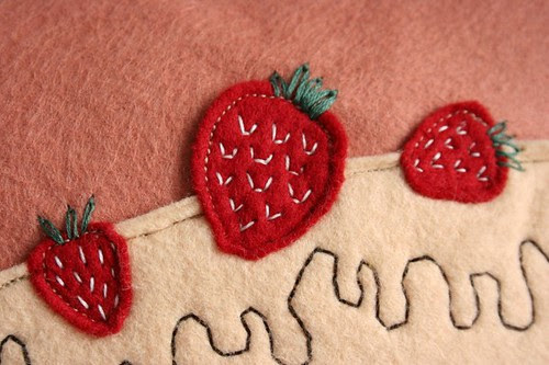 yummy cake pillow -- strawberries