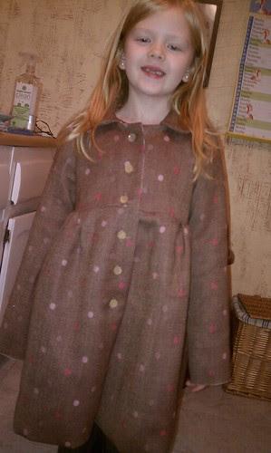 Kate in her new polka dot coat