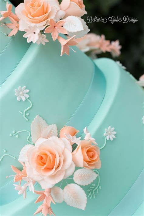 5 Tier Mintgreen And Peach Weddingcake   CakeCentral.com