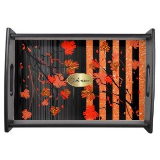 Art Deco Orange and Black Floral Food Tray