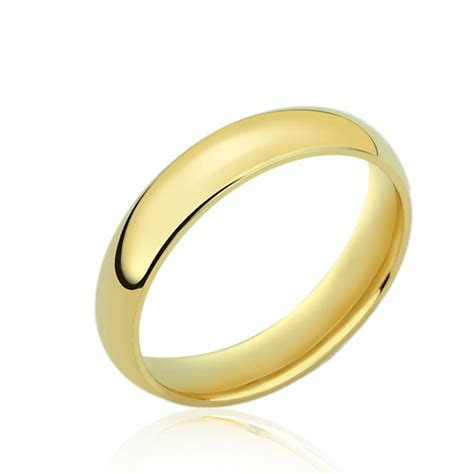 Men's 14K Yellow Gold 4mm Classic Domed Plain Wedding Band