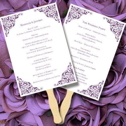 printable wedding program fan template isabella editable