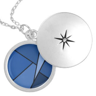 Abstract Blue Polygons Round Locket Necklace