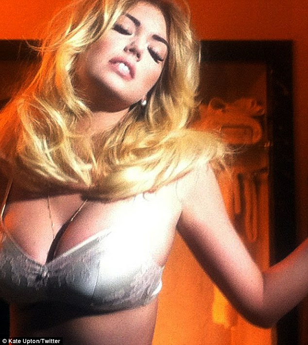 Sneak peek tweet: Kate Upton tweeted two photographs from the smouldering V Magazine shoot on Saturday, including one where she is practically busting out of her bra