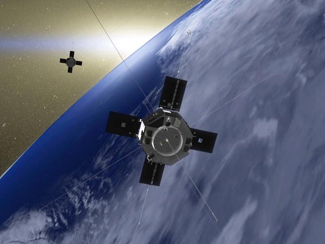 Artist's rendition of the Van Allen Probes in orbit around Earth.