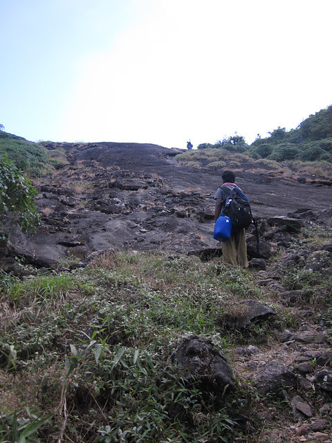 Kumara_Parvatha_Trek_On_the_way_to_Pushpagiri_Steep_Slope