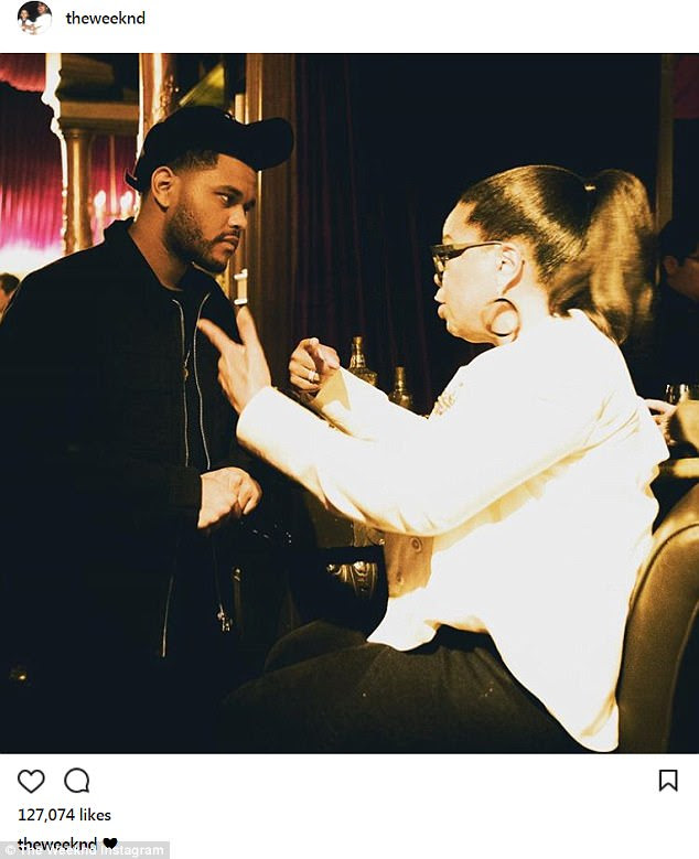 All love: Crooner The Weeknd also made an appearance and shared this snap with Oprah