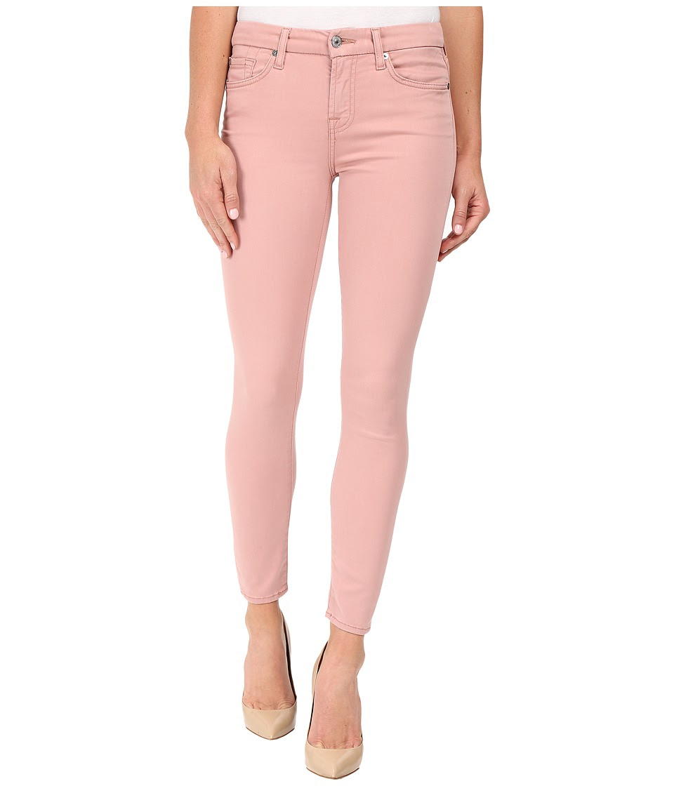 7 For All Mankind - The Ankle Skinny w\/ Contour Waist Band in Pink Rose (Pink Rose) Women's Jeans