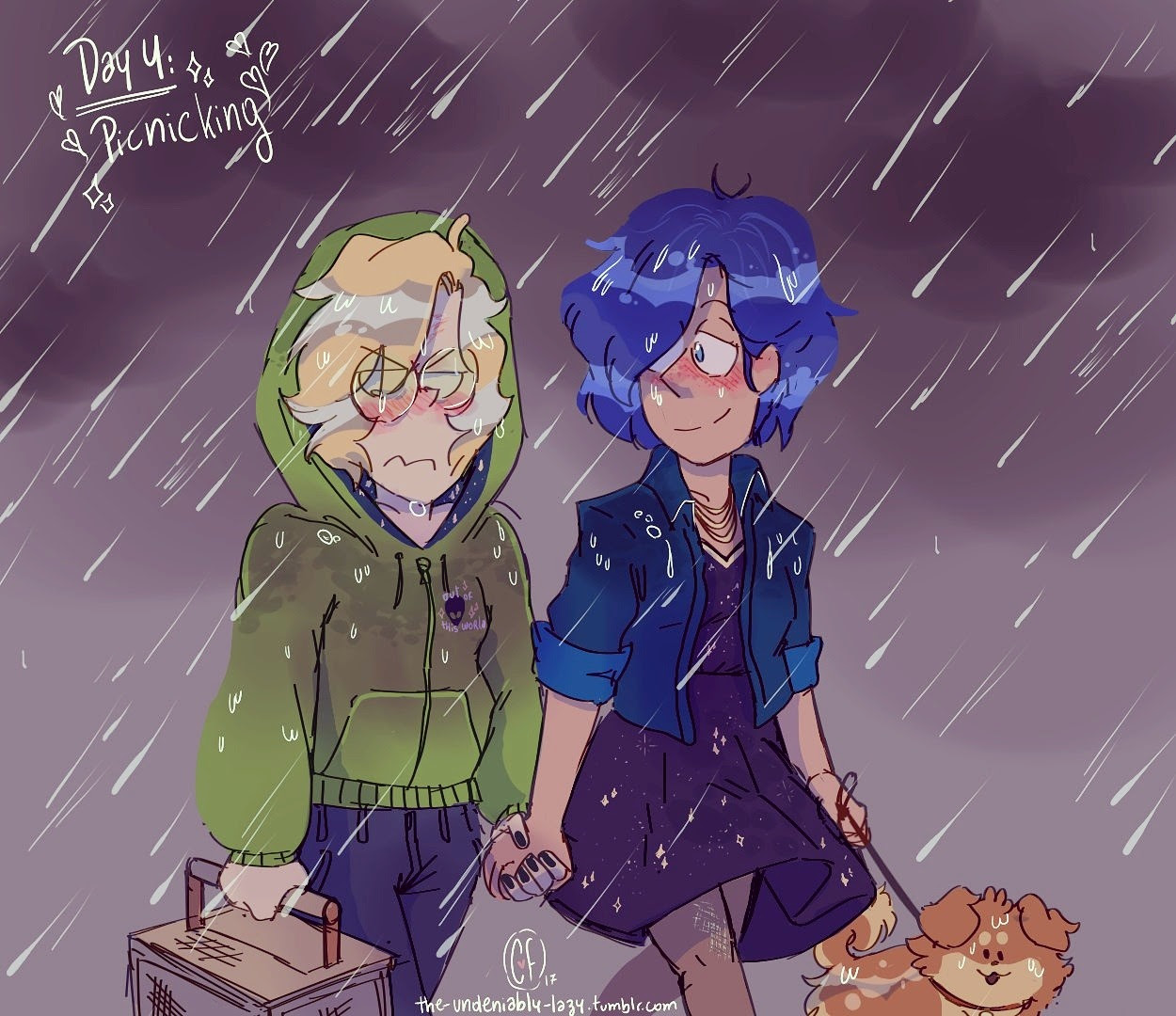 Day 4: Picnicking ✨✨✨Peridot's date wasn't very planned, Lapis loved it anyway ((also Pumpkin messed Peridot's shirt up with mud))