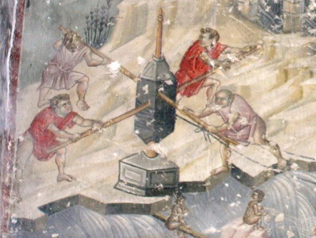 Τοιχογραφία.  Βέροια, Παλιά Μητρόπολη, Αναπαράσταση Μηχανισμού ανέλκυσης.  (©Φωτογραφικό Αρχείο ΕΚΒΜΜ)