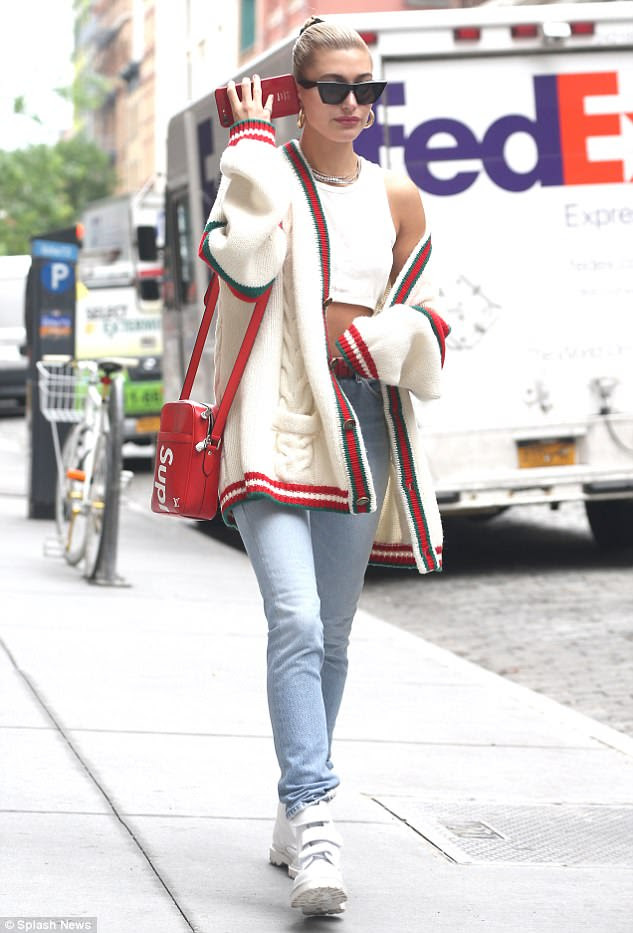 Hailey Baldwin Rocks stylish Gucci Cardigan in New York City