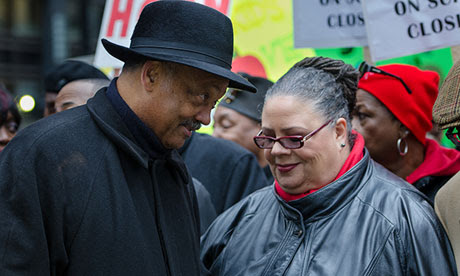 The Rev Jessie Jackson and Karen Lewis, president of CTU Local 1, at the Chicago schools protest