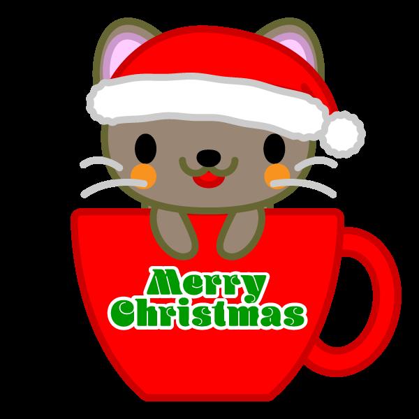 ソフトタッチでかわいいコーヒーカップ猫クリスマスverの無料イラスト
