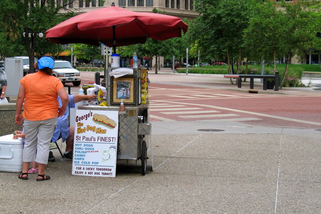 St Paul's finest hot dogs can be found in Rice Park, downtown St Paul.