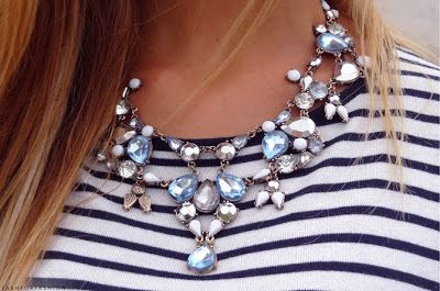 A little sparkle to an easy breezy maritime stripe.   Check out www.TheStatementNecklace.com for styles like this and more!
