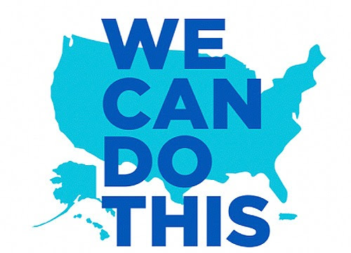 Image of text over outline of United States We Can Do This