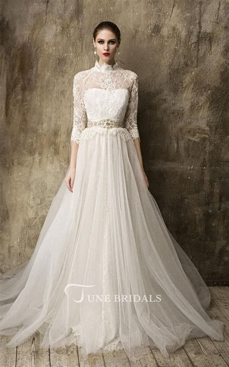High Neck 3 4 Sleeve A Line Tulle Wedding Dress With