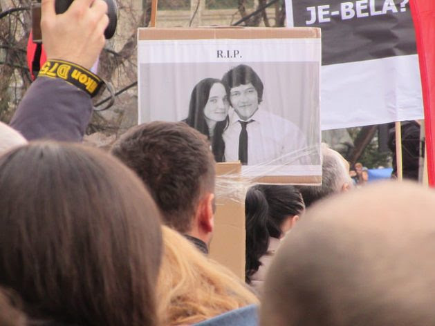 World Press Freedom Day: A protester in the Slovak capital, Bratislava holds up a picture of murdered journalist Jan Kuciak and his fiancée Martina Kusnirova. Hundreds of thousands of people took part in protests across the country in the weeks after the killing, eventually forcing the resignation of the Prime Minister and Interior Minister. Credit: Ed Holt/IPS