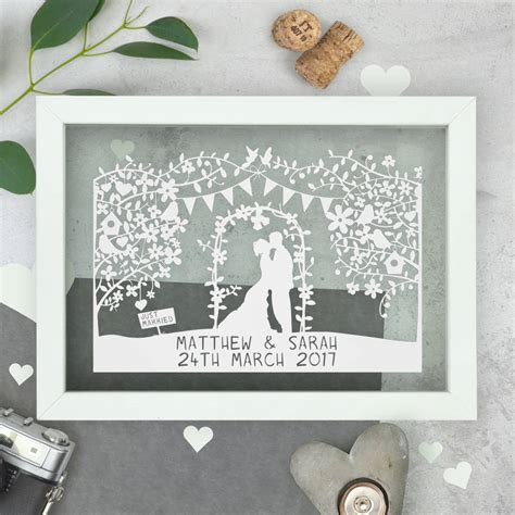 personalised wedding papercut by the portland co