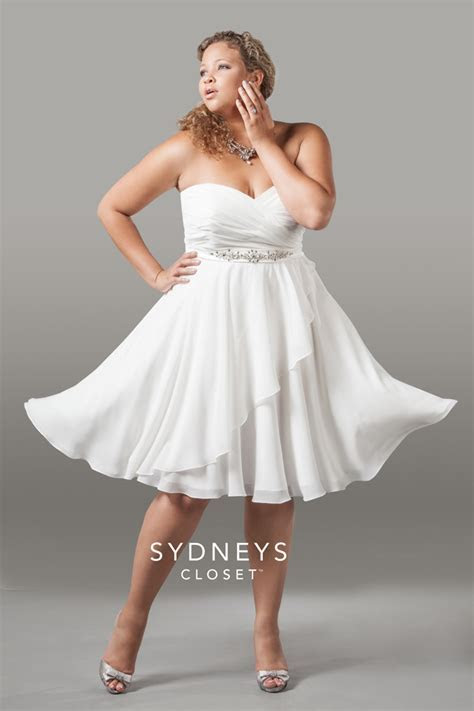 3 Short White Plus Size Party Dresses   white plus size